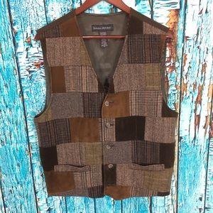 Banana republic plaid wool/ leather suede vest
